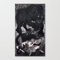 panther Canvas Prints featuring Panther by Olivia Chin Mueller