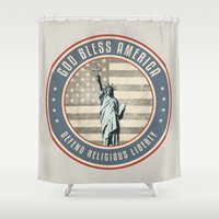 religious Shower Curtains featuring Defend Religious Liberty by politics