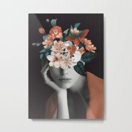 WOMAN WITH FLOWERS 7 Metal Print