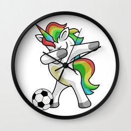 Dabbing Unicorn Soccer Funny Dancing Dab Gift Wall Clock
