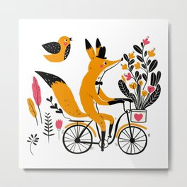 Fancy Mister Foxly Meets A Feathered Friend Metal Print