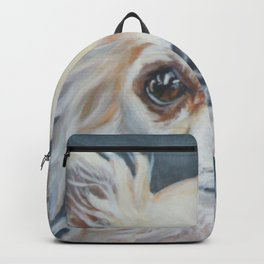 A longhair Chihuahua dog portrait from an original painting by L.A.Shepard Backpack