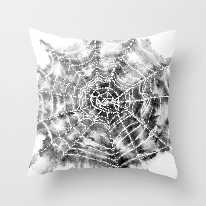 Watercolor Spider Web Halloween Art Throw Pillow