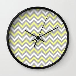 Chevron - yellow and grey Wall Clock