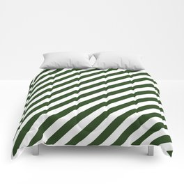 Large Dark Forest Green and White Candy Cane Stripes Comforters