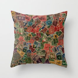 Vintage Postage Stamps Collection Throw Pillow