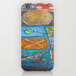 Children drawings on the asphalt with colorful chalk iPhone Case