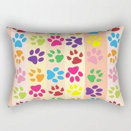 Dog Paws, Paw-prints, Stripes - Red Blue Green Rectangular Pillow