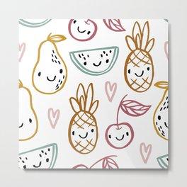 Happy Fruits Metal Print