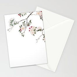 pink cherry blossom Japanese woodblock prints style Stationery Cards