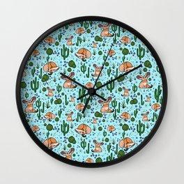 Fennec Foxes in Blue Wall Clock