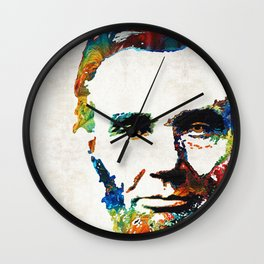 Abraham Lincoln Art - Colorful Abe - By Sharon Cummings Wall Clock
