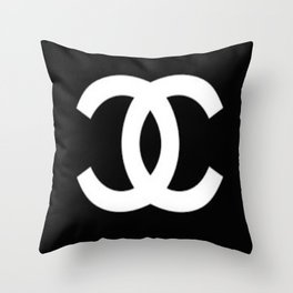Black Double C Throw Pillow