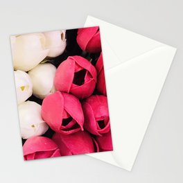 Avant-garde Pink Magenta and Pearlescent White Tulip Buds Stationery Cards