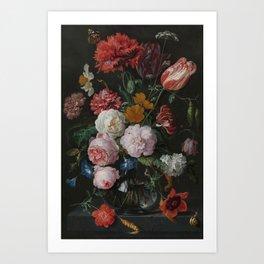 Still life with flowers in a glass vase, Jan Davidsz. de Heem, 1650 - 1683 Art Print