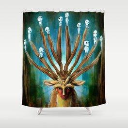 Princess Mononoke The Deer God Shishigami Tra Digital Painting. Shower Curtain