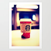 starbucks Art Prints featuring Starbucks  by Jo Bekah Photography