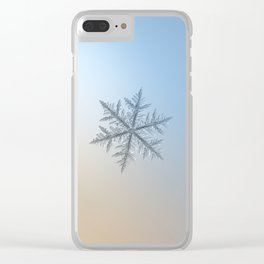 Real snowflake macro photo - Silverware Clear iPhone Case