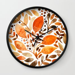 Autumn watercolor leaves Wall Clock