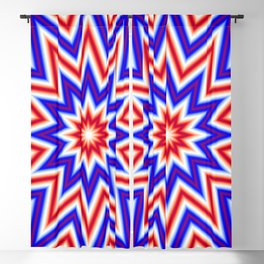 Red White and Blue Psychedelic Mandala Star Pattern Blackout Curtain