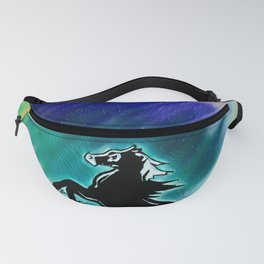 Beautiful black horse with colored sky Fanny Pack