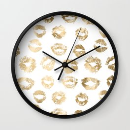 Girly Fashion Lips Gold Lipstick Pattern Wall Clock