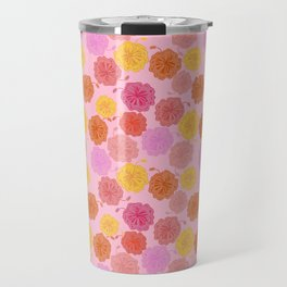 Hibiscus Hawaiian Flowers in Pinks and Corals on Pink Travel Mug
