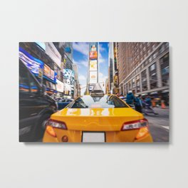Taxi in Times Square, New York. Metal Print