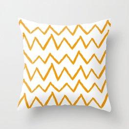 Hand-Drawn Zig Zag (Orange & White Pattern) Throw Pillow