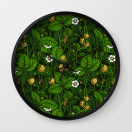 Wild strawberries, yellow and green Wall Clock
