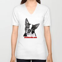 boston terrier V-neck T-shirts featuring Boston Terrier by Gooberella