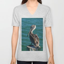 Pelican On A Pole Unisex V-Neck