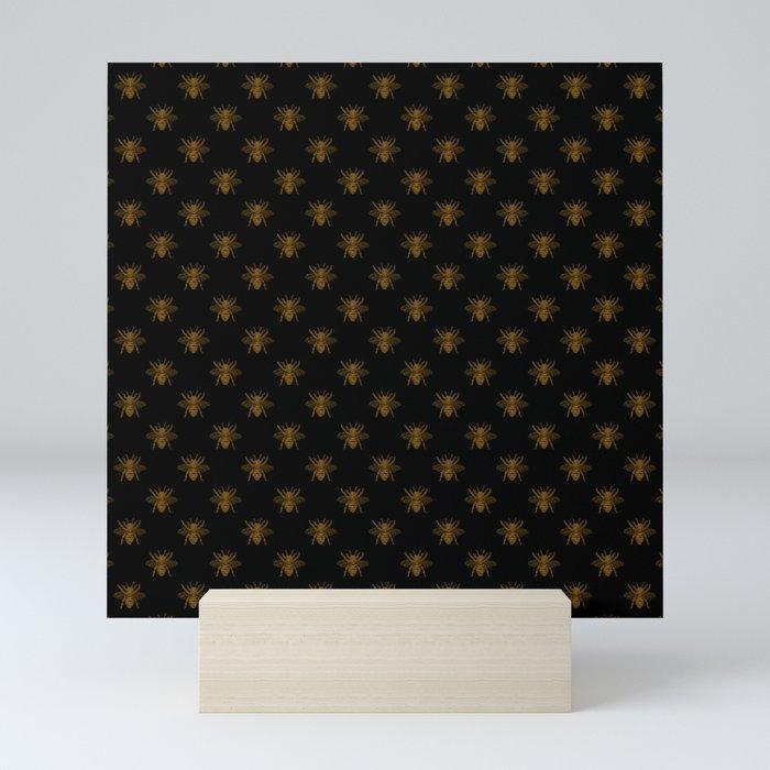Foil Bees on Black Gold Metallic Faux Foil Photo-Effect Bees Mini Art Print
