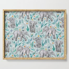 Baby Elephants and Egrets in Watercolor - egg shell blue Serving Tray
