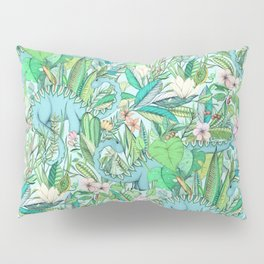 Improbable Botanical with Dinosaurs - soft pastels Pillow Sham