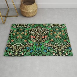 William Morris Jacobean Floral, Black Background Rug