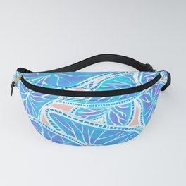 Tropical Caladium Leaves Pattern - Blue Fanny Pack