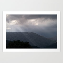 Rays in the mountains Art Print