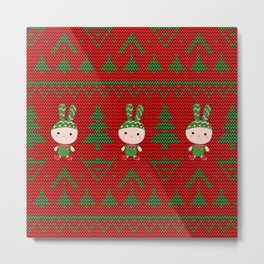 Knitted pattern Christmas Bunny Metal Print