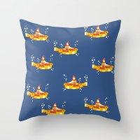 yellow submarine Throw Pillows featuring Fabric Yellow Submarine by AnnaCas