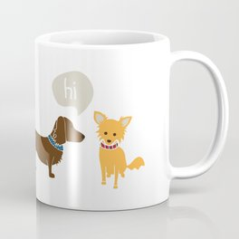 Bosco the Dachshund greets Pipsqueak the Jack Chi Mix Coffee Mug