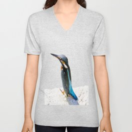 A Beautiful Kingfisher Bird Vector Unisex V-Neck