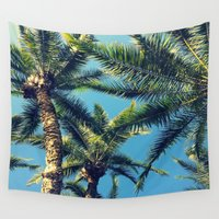 palm tree Wall Tapestries featuring Palm Tree by Jillian Stanton