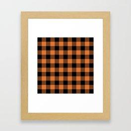 Buffalo Plaid - Orange & Black Framed Art Print