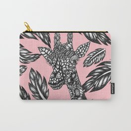 Cute black white floral giraffe pink illustration Carry-All Pouch