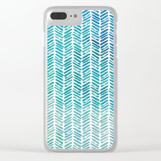 Handpainted Herringbone Chevron pattern-small-aqua watercolor on white Clear iPhone Case