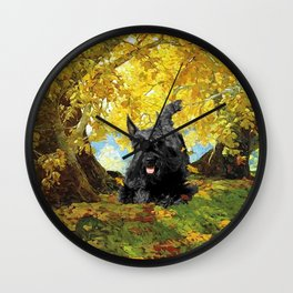 Scottish Terrier in Autumn Woods Wall Clock