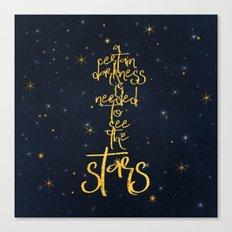 Darkness-Stars - sparkling night gold glitter effect typography on #Society6 Canvas Print