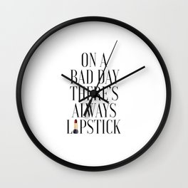 Wake up and Makeup,Fashion Print,Fashion Decor,Lipstick Print,Lips Print,XOXO,Makeup Poster,Makeup Wall Clock