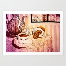 purple sleepy breakfast Art Print
